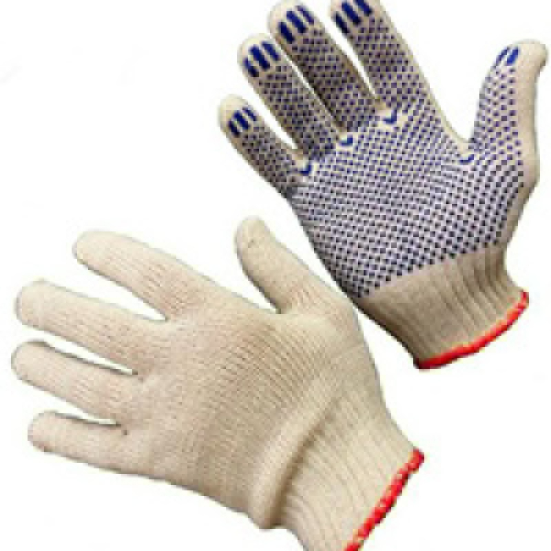 Перчатки трикотажные с ПВХ  3-х нитка 7,5 кл