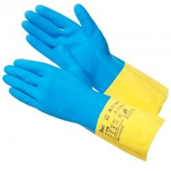Перчатки GWARD НР300 латекс+неопр. с хлопком, синий с желтым