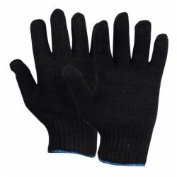 Перчатки трикотажные 10 класс х/б (черные) 4-х нитка