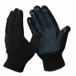 Перчатки трикотажные 10 класс с ПВХ Точка (черные) 4-х нитка